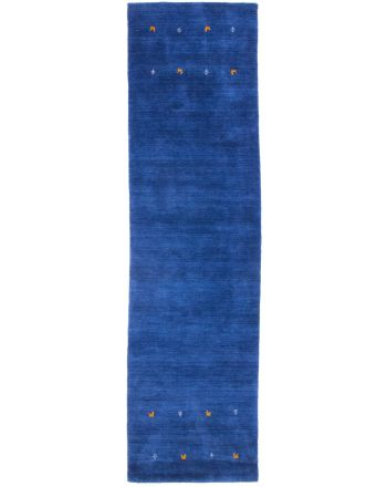 Wool Rug Gabbeh Uni Runner Blue
