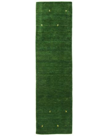 Wool Rug Gabbeh Uni Runner Green