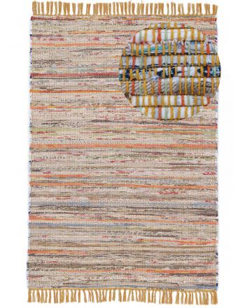 Flat Weave Rug Kilim Chindi  Yellow