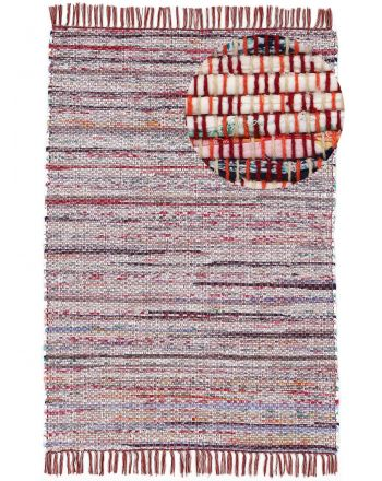 Flat Weave Rug Kilim Chindi  Red