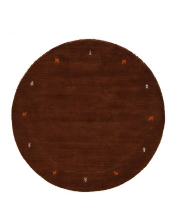Wool Rug Gabbeh Uni Round Brown