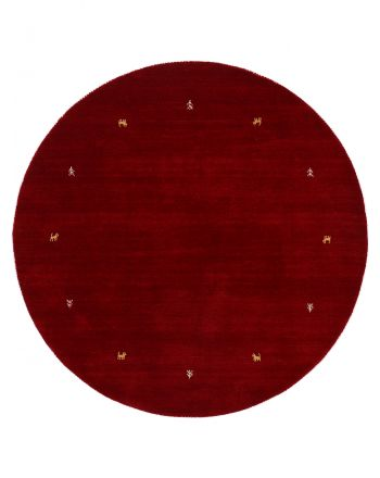 Wool Rug Gabbeh Uni Round Red