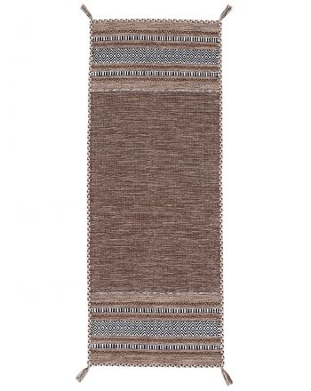 Flat Weave Rug Kilim Azizi Runner Brown
