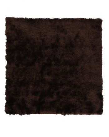 Shaggy Rug Luna Square Dark Brown