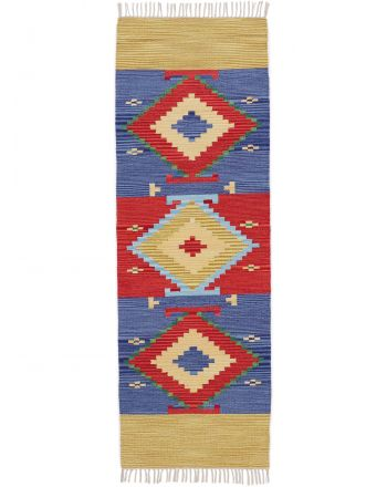 Flat Weave Rug Kilim Svea Runner Multicolored
