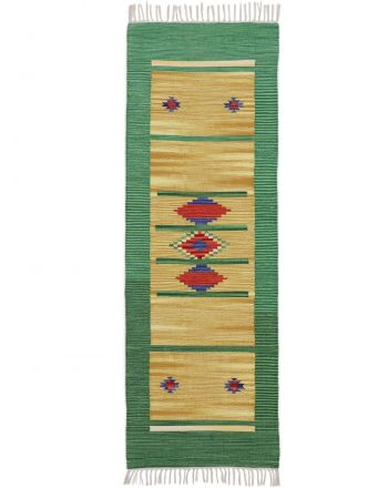 Flat Weave Rug Kilim Nilay Runner Green